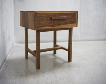 Solid Black Walnut Nightstand / Side Table / End Table with Drawer *