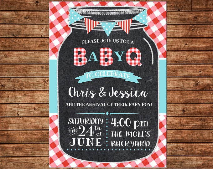 Invitation Mason Jar Chalkboard Red Gingham Baby Q Shower Party - Can personalize colors /wording - Printable File or Printed Cards