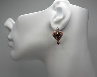 Ready to ship. Sterling silver and copper earrings with amethyst and garnet. Artisan love heart dangle earrings. All links are soldered.