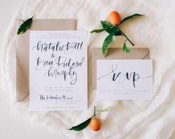 The Natalie - Simply Navy Custom Watercolor Brush Lettering Wedding Invitation Suite