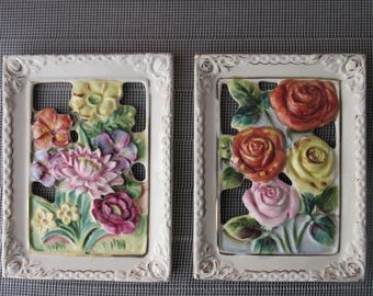 Vintage Ucacgo Japan Floral Wall Plaques