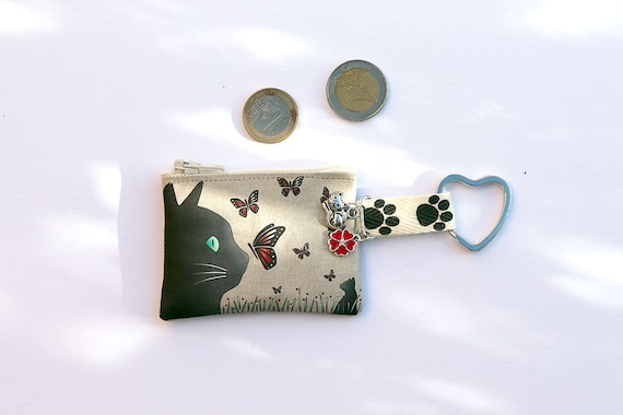 "Keyring / mini wallet in illustrious lin ""cat and butterflies"""