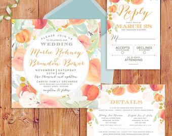 Peach Orchard Wedding Invitations, Peaches, Floral Wedding Invitations, Garden Wedding Invitations