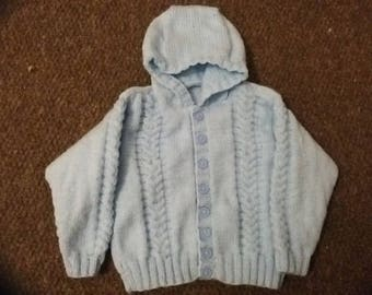 Hand Knitted Child's Hooded Jacket