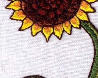 Sunflower Hand Embroidery Pattern Crewel Satin Stitch Flower PDF
