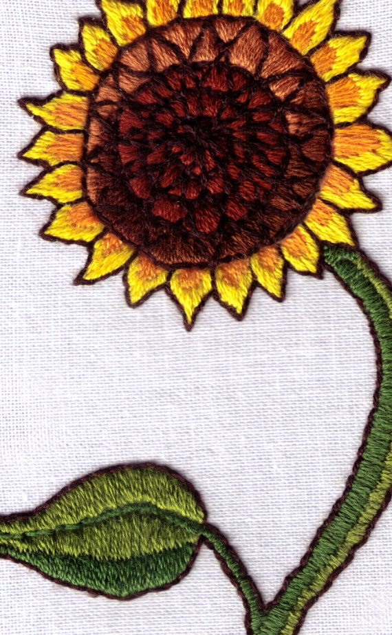 Sunflower Hand Embroidery Pattern Crewel Satin Stitch