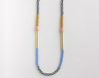 Colourblock Necklace - Mustard & Pink