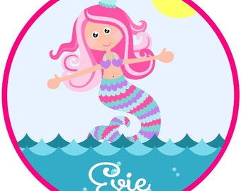 Mermaid in the Sea, Long Haired Beach  Beauty Iron on.