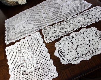 Crochet Doilies, 4 Assorted Runner and Doily Lot, Vintage Doily Collection, Whites 13981