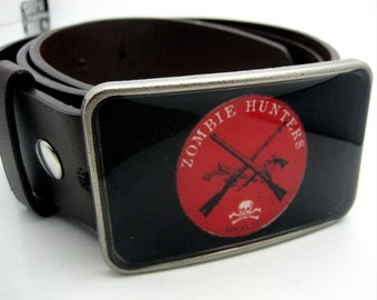 Zombie Hunters Resin art belt buckle for snap belt straps Black and Red apocalypse grunge