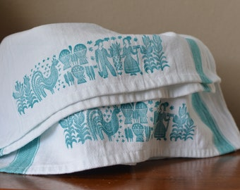 Vintage Pyrex Amish butterprint inspired hand printed tea towel kitchen towel set
