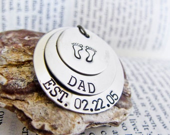 Personalized Name Necklace Custom Stamped for You - Three Mixed Stacked Discs - Footprints - NO Birthstone Charms