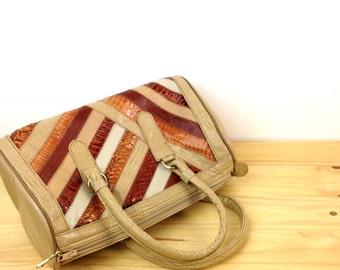 Vintage Patchwork Bag / Snakeskin Purse / Tan Brown Purse / Barrel Purse / Snakeskin Handbag / Shoulder Bag / Mini Duffle Purse
