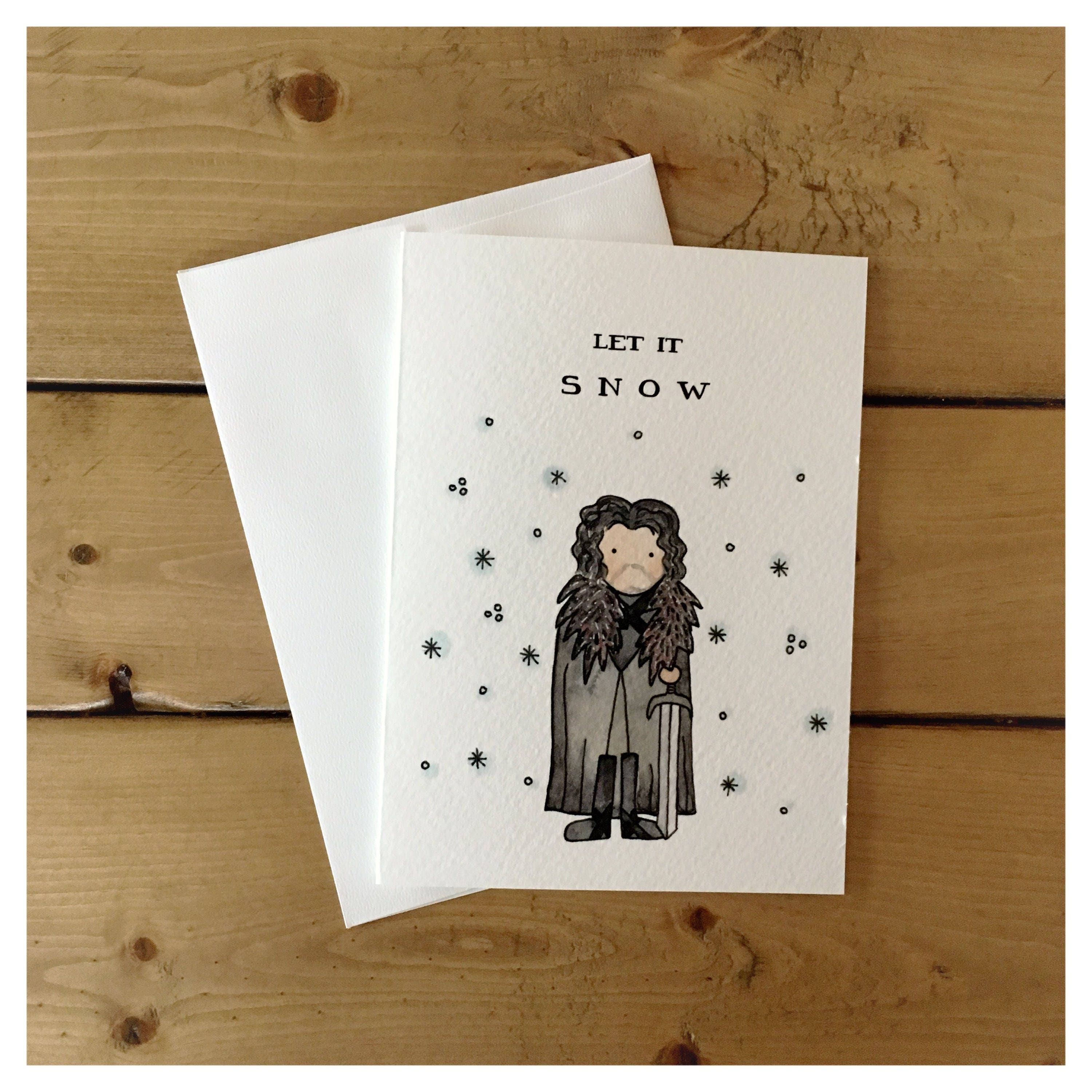 Famous Let it Snow // Jon Snow, Game of thrones, pun, funny card  KX87