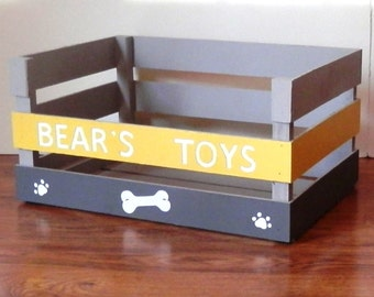 Dog Toy Box with Lower Front, Easy Access Toy Box, Personalized Dog Toy Box