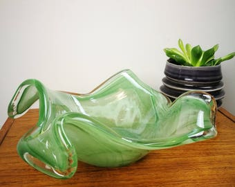 Murano style Green Iridescent glass folded edge bowl