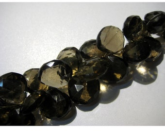 Smoky Quartz Briolettes, Heart Briolettes, Faceted beads - 13x13mm To 12x12mm Each - Half Strand 4 Inches - 19  Pieces Approx