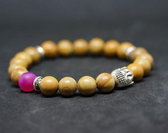 """Pink Buddha series """"PinkBuddha"""" Jasper and Agate bracelet"""