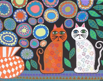 Kerri Ambrosino Art PRINT Mexican Folk Art Cats and Flowers  Vase Friendly Cats