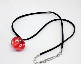 Red gelatin d10 necklace