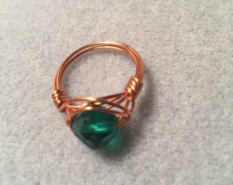Glass emerald ring