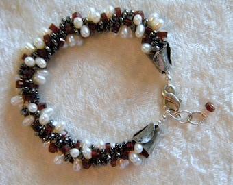 Red Garnet Garnets, White Freshwater Pearls Pearl, Black Hematite, Fine Gemstones Kumihimo Bracelet Micro