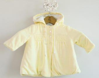 Little Girl's 1980s Buttercream Yellow Winter Coat • Size 12mo