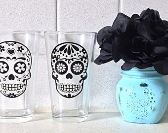 Set Of 4 Day Of The Dead Pint Glasses • Dia De Los Muertos • Sugar Skulls • Pint Glass Set