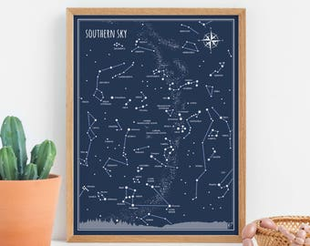 Southern Sky - print, Little Astronomer Set, back to school, map of sky, constellations
