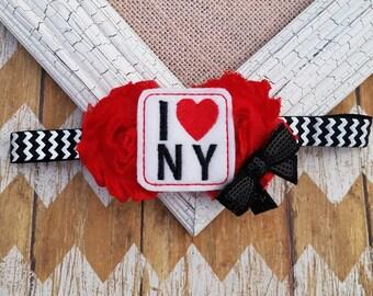 New York headband, I love New York headband, girls headband, toddler headband, baby headband, ladies headband, city girl headband, headband