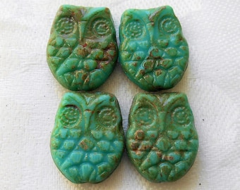Four large opaque turquoise blue Czech glass owl beads with a picasso finish, focal beads, 18mm x 15mm C00101