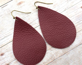 Teardrop maroon leather earrings, maroon leather teardrop earrings, maroon leather earrings