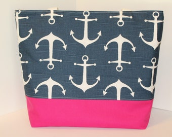 Anchor Tote Beach bag . ANCHORS Navy blue . Standard size . Monogrammed Available . beach tote . Bridesmaid gift