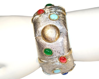 Kenneth Lane Bracelet, Rare Jeweled Modernist, Collectible, Signed, K.J.L., Vintage 1960s