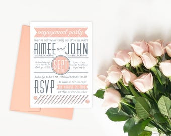 Blush Engagement Party Invitation, Pink and Gray Rehearsal Dinner Invitation, Engagement Announcement, Blush Grey Wedding Shower Invitations