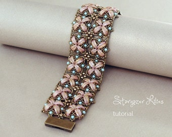 Beading Tutorial - Crescent Beads Bracelet Tutorial - Bracelet Pattern - Beadweaving Tutorial - Beading Pattern by Sidonia