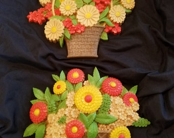 Vintage Marigold and Daisy Plastic Wall Deco, 1970's, EXCELLENT!