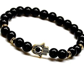 Bracelets for Men, Mens Bracelet, Onyx Bracelet, Black Onyx Bracelet, Black Bead Bracelet,Gemstone Bracelet Mens,Hamsa Bracelet,Onyx Jewelry