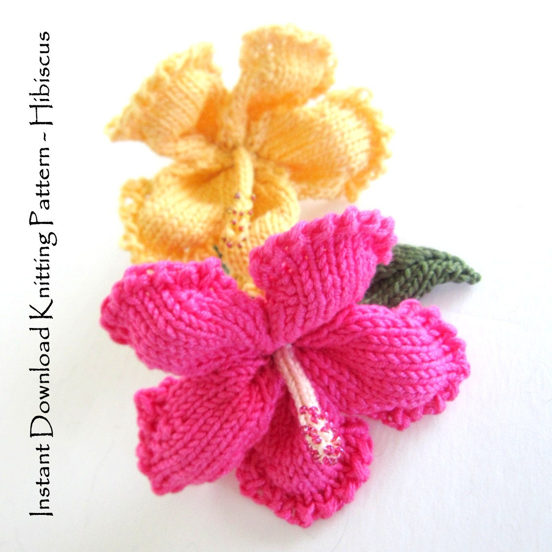 Instant Download PDF Knit Flower Pattern Hibiscus Flower