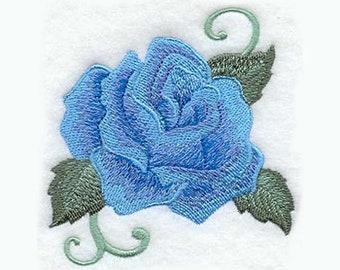 Broderie torchon Rose rayonnante | Brodé serviette | Broderie serviette de cuisine | Personnalisé torchon | Cadeaux de radiante Rose | Rose bleue