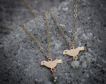 Tiny bird necklace ,bird jewelry, animal necklace, everyday necklace, dainty necklace, simple necklace, minimalist necklace.