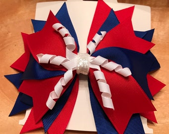 Red, white and blue hair bow with korker ribbon