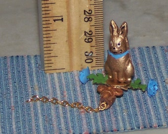 1:12th Dollhouse bunny Pull Toy.   Nursery Rabbit.  All Metal.