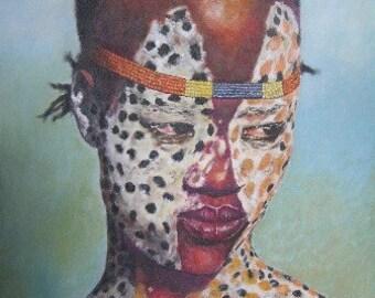 Karo dancer, Ethiopia, Art Cards with Envelope, hand signed