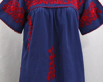 """Mexican Peasant Top Blouse Hand Embroidered: """"Lijera"""" Denim Blue + Red Embroidery ~ Size MEDIUM"""