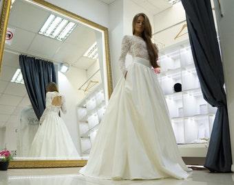 Modest wedding dress, Satin skirt lace top wedding dress