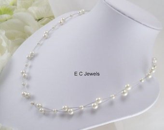 SHOP SALE Floating Pearls Necklace - Pick your color