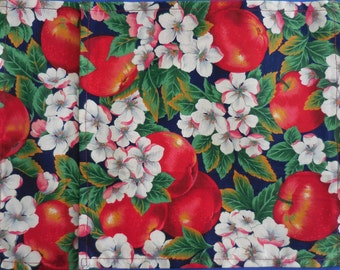 Cloth fabric Lunchbox Napkins with Apples and Apple Blossom – Kids Lunchbox Napkins with Apples and Apple Blossom – set of 2 9 x 9