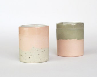 Pair of Ceramic cup // speckled pottery // Modern ceramics // ceramic glass // Ceramic Cup // drinkware // sky overlay // contemporary