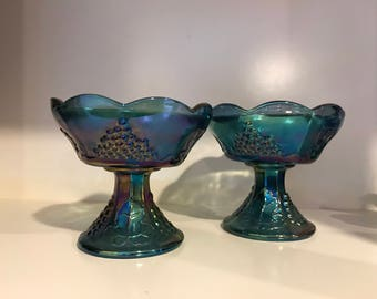 Carnival Glass candle stick holders